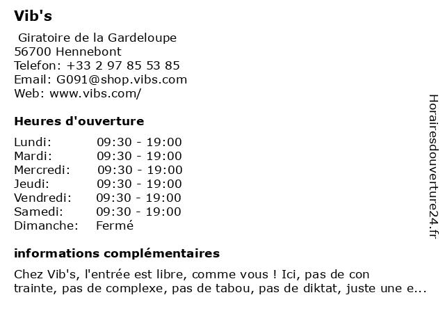 Vib's à Hennebont: adresse et heures d'ouverture