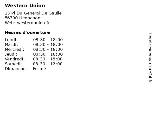 Western Union à Hennebont: adresse et heures d'ouverture