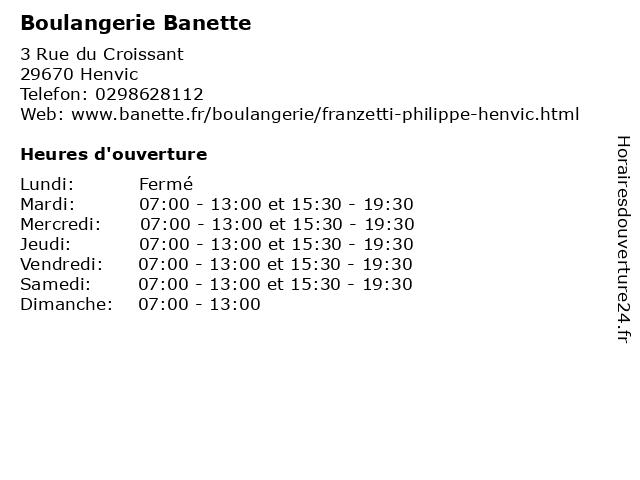 Boulangerie Banette à Henvic: adresse et heures d'ouverture