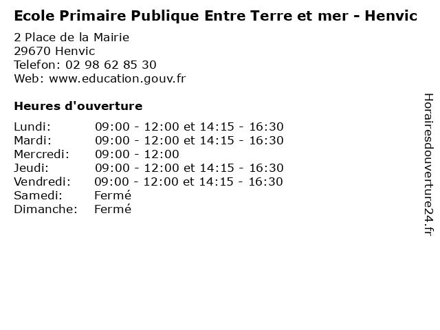 Ecole Primaire Publique Entre Terre et mer - Henvic à Henvic: adresse et heures d'ouverture