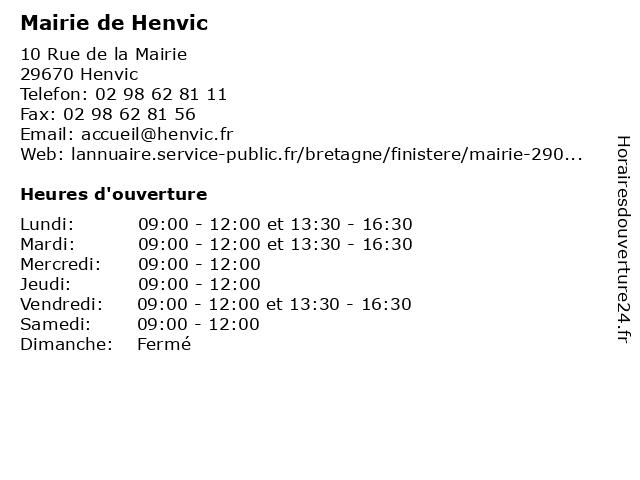 Mairie de Henvic à Henvic: adresse et heures d'ouverture