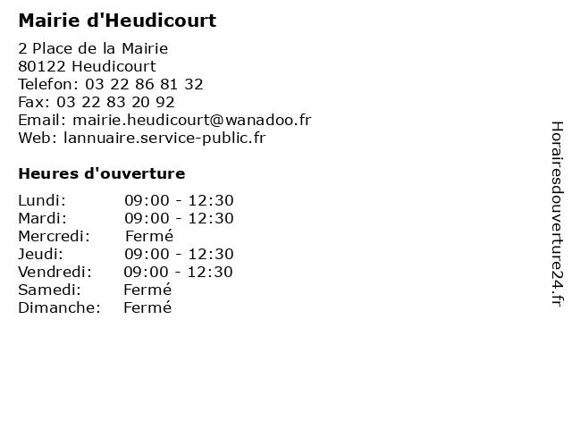 Mairie d'Heudicourt à Heudicourt: adresse et heures d'ouverture