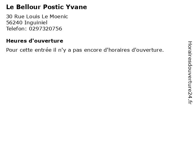 Le Bellour Postic Yvane à Inguiniel: adresse et heures d'ouverture