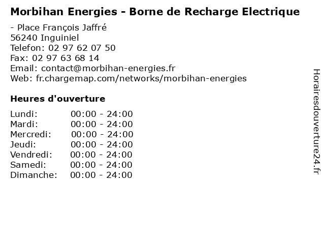 Morbihan Energies - Borne de Recharge Electrique à Inguiniel: adresse et heures d'ouverture