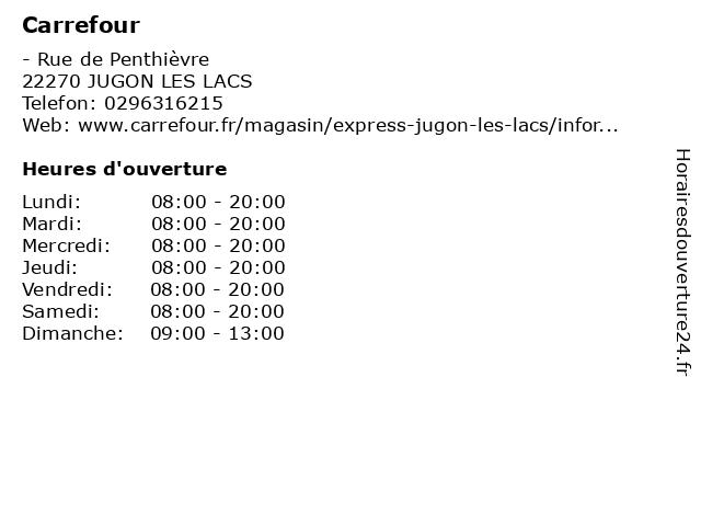 Carrefour à JUGON LES LACS: adresse et heures d'ouverture