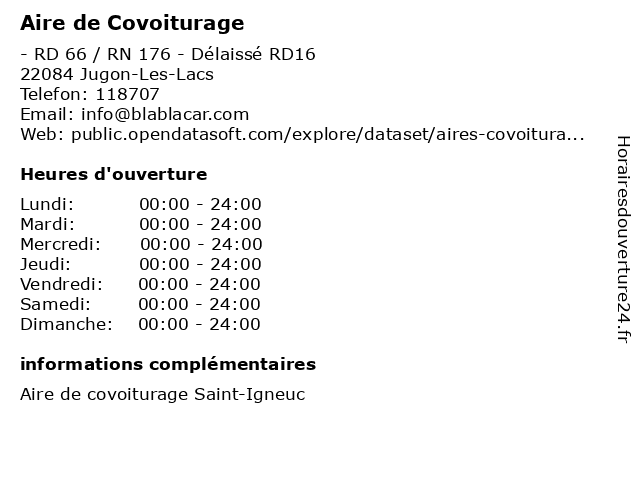 Aire de Covoiturage à Jugon-Les-Lacs: adresse et heures d'ouverture