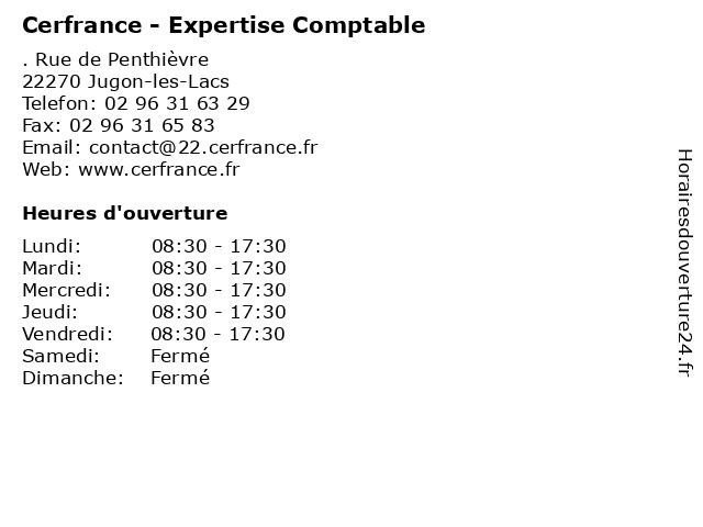 Cerfrance - Expertise Comptable à Jugon-les-Lacs: adresse et heures d'ouverture