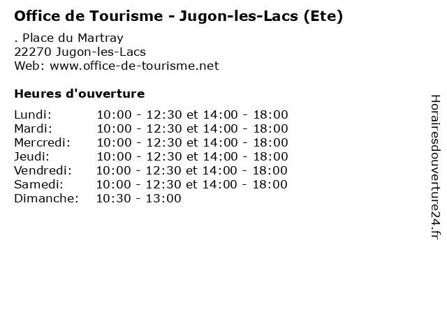 Office de Tourisme - Jugon-les-Lacs (Ete) à Jugon-les-Lacs: adresse et heures d'ouverture