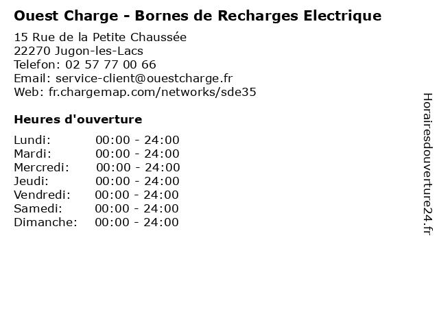 Ouest Charge - Bornes de Recharges Electrique à Jugon-les-Lacs: adresse et heures d'ouverture