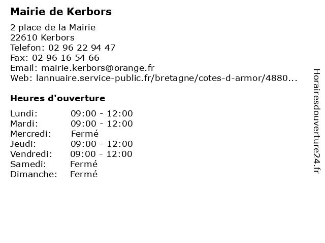 Mairie de Kerbors à Kerbors: adresse et heures d'ouverture