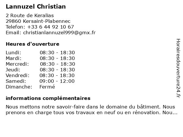 Lannuzel Christian à Kersaint-Plabennec: adresse et heures d'ouverture