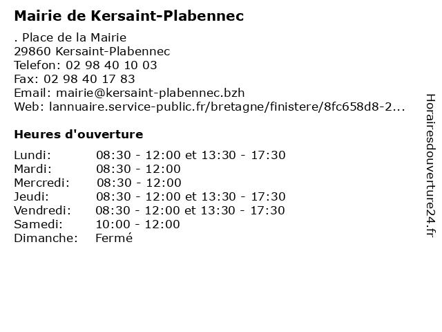 Mairie de Kersaint-Plabennec à Kersaint-Plabennec: adresse et heures d'ouverture