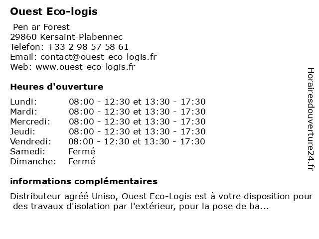 Ouest Eco-logis à Kersaint-Plabennec: adresse et heures d'ouverture