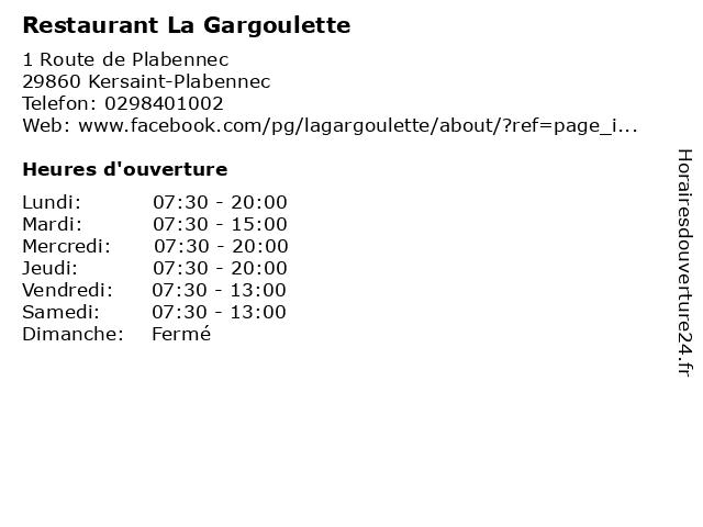 Restaurant La Gargoulette à Kersaint-Plabennec: adresse et heures d'ouverture