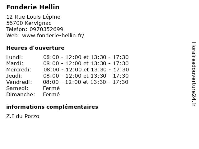 Fonderie Hellin à Kervignac: adresse et heures d'ouverture