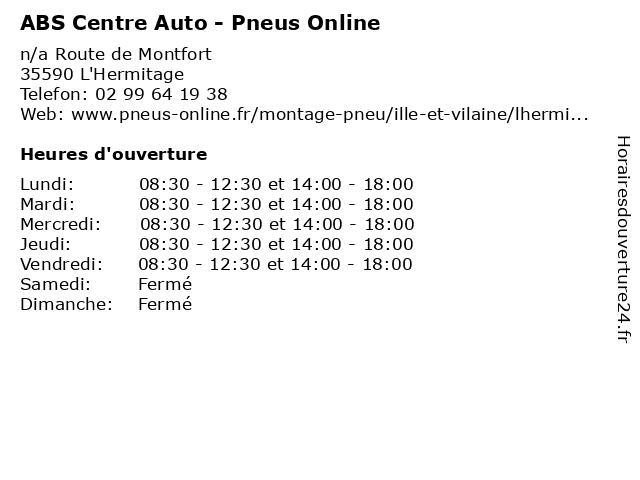 ABS Centre Auto - Pneus Online à L'Hermitage: adresse et heures d'ouverture