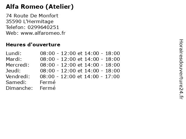 Alfa Romeo (Atelier) à L'Hermitage: adresse et heures d'ouverture