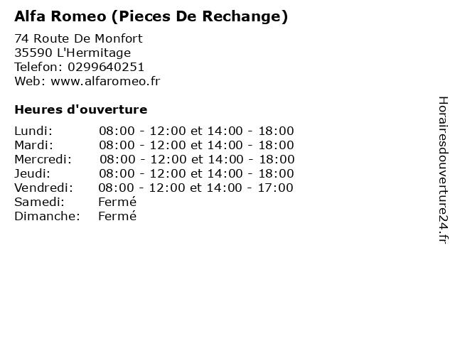 Alfa Romeo (Pieces De Rechange) à L'Hermitage: adresse et heures d'ouverture