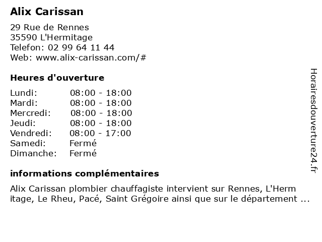 Alix Carissan à L'Hermitage: adresse et heures d'ouverture