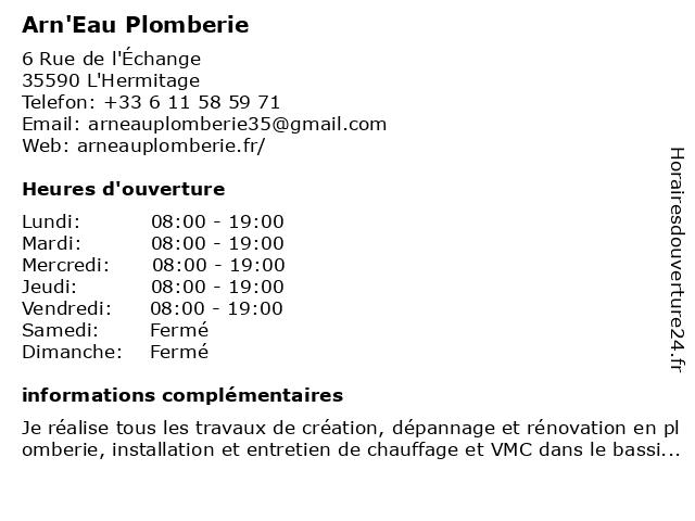 Arn'Eau Plomberie à L'Hermitage: adresse et heures d'ouverture