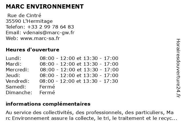 Entreprise Marc à L'Hermitage: adresse et heures d'ouverture