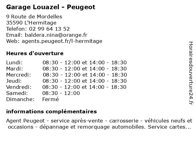 GARAGE LOUAZEL à L'Hermitage: adresse et heures d'ouverture
