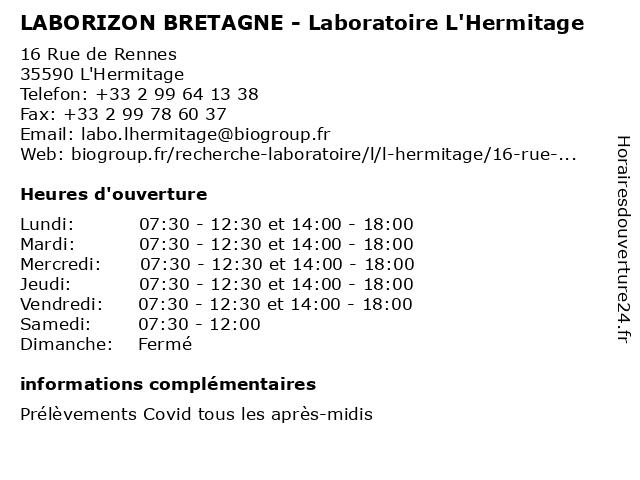 LABORIZON BRETAGNE - Laboratoire L'Hermitage à L'Hermitage: adresse et heures d'ouverture