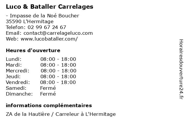 Luco & Bataller Carrelages à L'Hermitage: adresse et heures d'ouverture