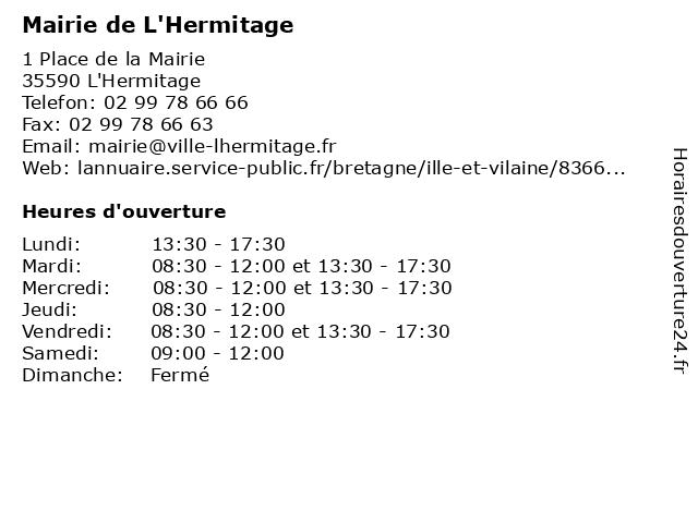 Mairie de L'Hermitage à L'Hermitage: adresse et heures d'ouverture