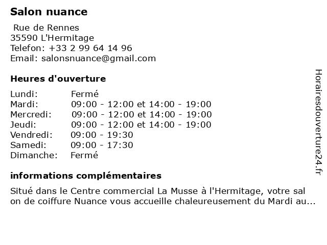 Nuance Coiffure à L'Hermitage: adresse et heures d'ouverture