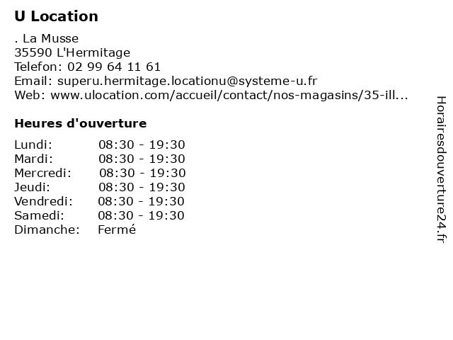 Super U Location à L'Hermitage: adresse et heures d'ouverture