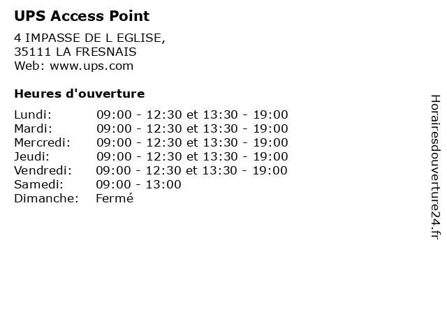 UPS Access Point à LA FRESNAIS: adresse et heures d'ouverture
