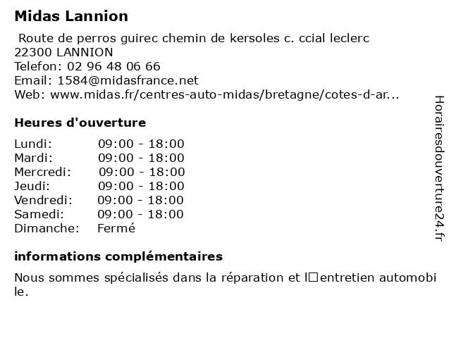 Midas Lannion à LANNION: adresse et heures d'ouverture