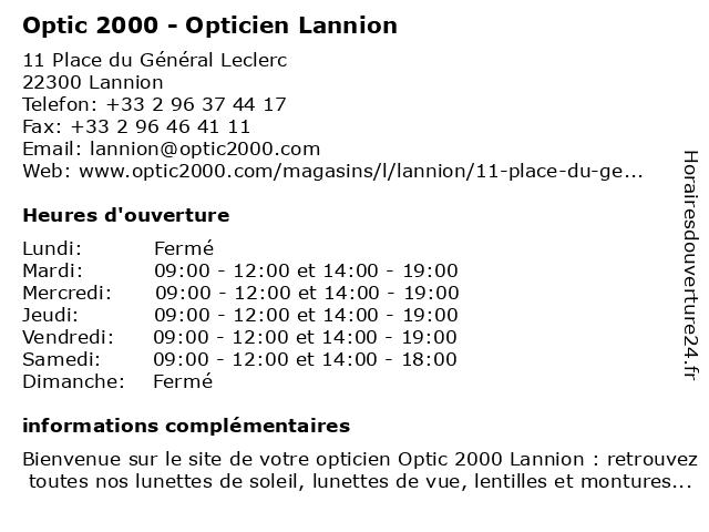 Opticien Optic 2000 Lannion - Lunettes, lunettes de soleil, lentilles à LANNION: adresse et heures d'ouverture