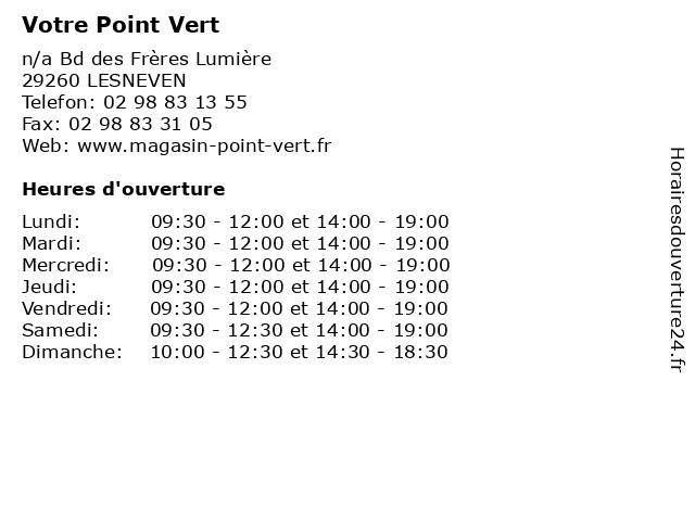 Votre Point Vert à LESNEVEN: adresse et heures d'ouverture