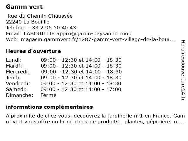 Gamm vert à La Bouillie: adresse et heures d'ouverture