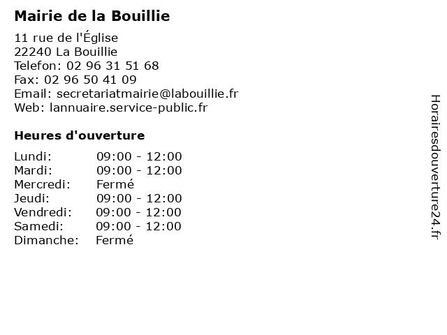 Mairie de la Bouillie à La Bouillie: adresse et heures d'ouverture