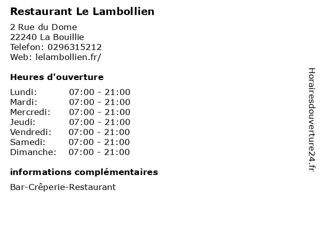 Restaurant Le Lambollien à La Bouillie: adresse et heures d'ouverture
