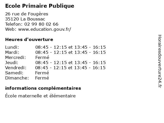 Ecole Primaire Publique à La Boussac: adresse et heures d'ouverture