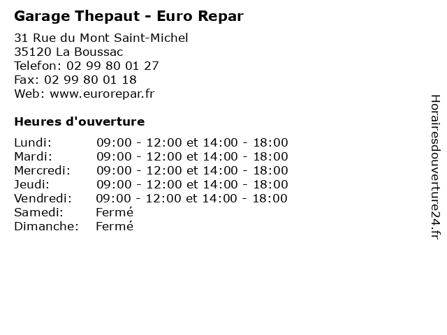 Garage Thepaut - Euro Repar à La Boussac: adresse et heures d'ouverture
