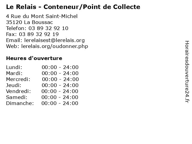 Le Relais - Conteneur/Point de Collecte à La Boussac: adresse et heures d'ouverture