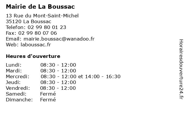 Mairie à La Boussac: adresse et heures d'ouverture