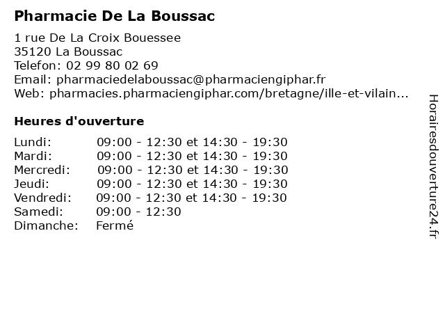 Pharmacie De La Boussac à La Boussac: adresse et heures d'ouverture