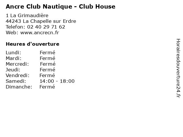 Ancre Club Nautique - Club House à La Chapelle sur Erdre: adresse et heures d'ouverture
