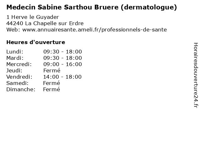 Medecin Sabine Sarthou Bruere (dermatologue) à La Chapelle sur Erdre: adresse et heures d'ouverture