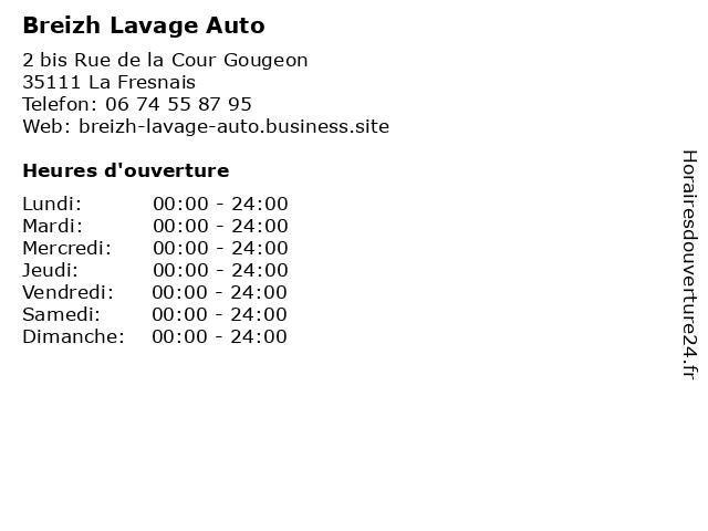 Breizh Lavage Auto à La Fresnais: adresse et heures d'ouverture