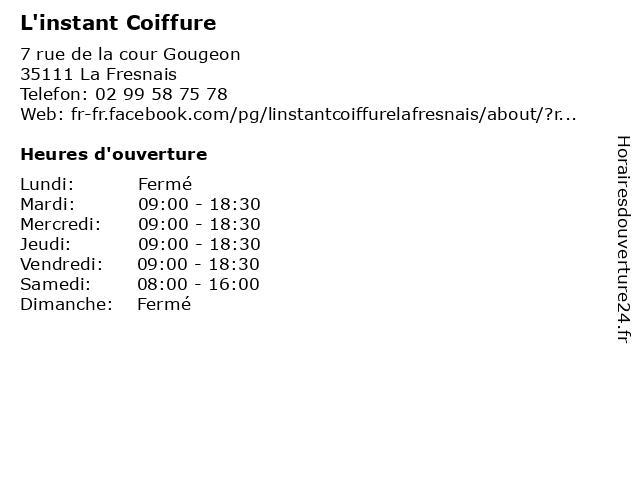 L'instant Coiffure à La Fresnais: adresse et heures d'ouverture