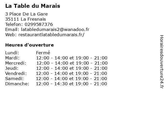 La Table du Marais à La Fresnais: adresse et heures d'ouverture