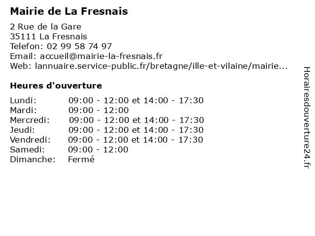 Mairie de La Fresnais à La Fresnais: adresse et heures d'ouverture