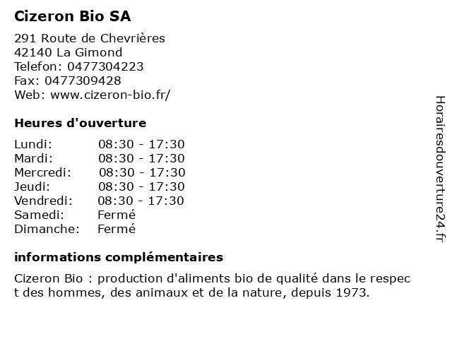 Cizeron Bio SA à La Gimond: adresse et heures d'ouverture